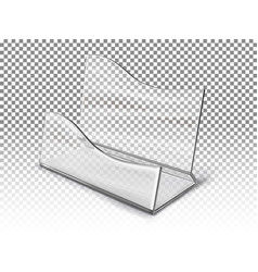 Realistic transparent business card holder vector