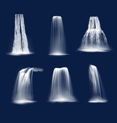 Realistic waterfalls or water fall cascades vector