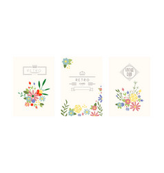 retro cards with garden flowers floral greeting vector image