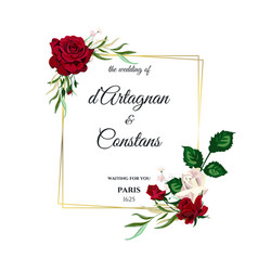roses wedding invitation card for design 01 vector image