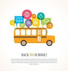 School bus with color speech bubbles vector image