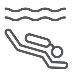 Scuba diving line icon diving and underwater vector