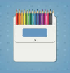 Set of rainbow colored pencils in a white pocket vector
