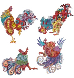 Set roosters with flowery patterns vector