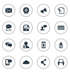 Set simple blogging icons vector