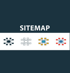Sitemap icon set four elements in different styles vector