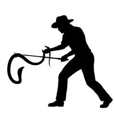 Snake catcher silhouette vector