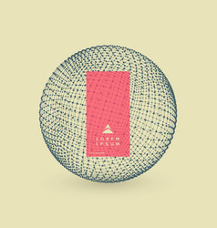 sphere with connected lines and dots 3d grid vector image