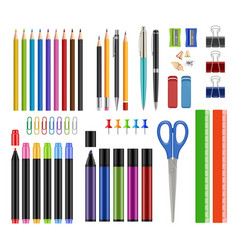 stationary collection pen pencils sharpen rubber vector image
