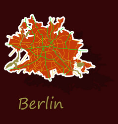 Sticker berlin city map with boroughs silhouette vector