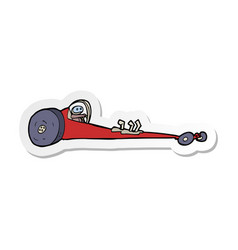 Sticker of a cartoon drag racer vector