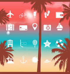 summer holidays icons flat icons with exotic vector image