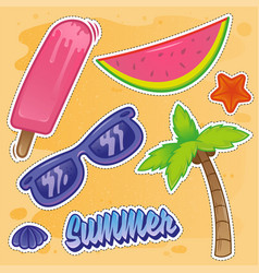 summer set sticker vector image