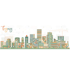 Taguig philippines skyline with color buildings vector
