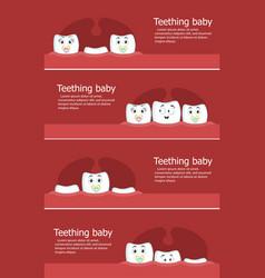 teething baby flyers with teeth vector image