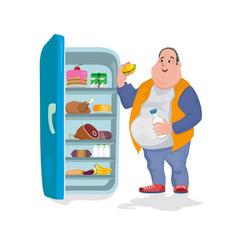 The fat man eats a hamburger in an open vector