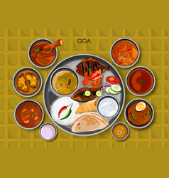 traditional goan cuisine and food meal thali of vector image