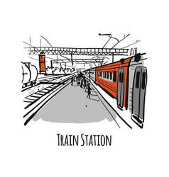 train station sketch for your design vector image