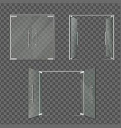 transparent glass doors set in different positions vector image