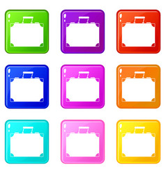 Travel bag icons 9 set vector
