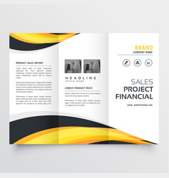 trifold brochure design with yellow and black vector image