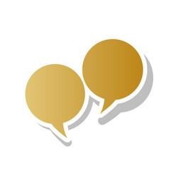 Two speech bubble sign golden gradient vector
