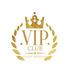 Vip club logo design luxury elegant golden badge vector