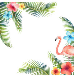 Watercolor card of tropical leaves and the vector