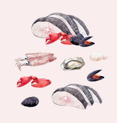 Watercolor sea food set vector