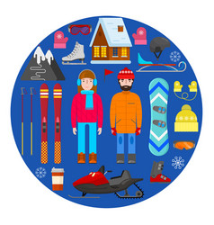 winter equipment on blue background vector image