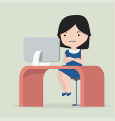woman sitting chair concept in workplace think vector image