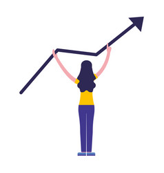 Woman standing with growth arrow vector