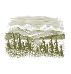 Woodcut vintage wilderness vector