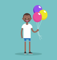 young black man holding a bunch of colourful vector image