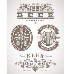 Beer emblems and labels - vector image vector image