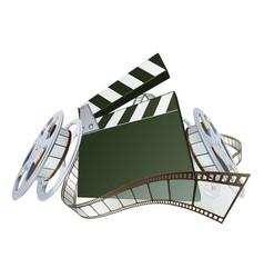 film clapperboard and movie film reels vector image
