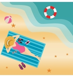 girl woman lying at beach sand sun tanning wearing vector image vector image