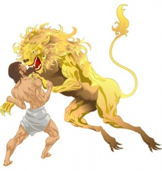 Hercules and the lion vector image vector image