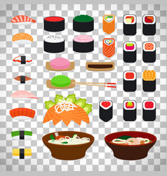 japanese food icons on transparent background vector image