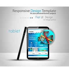Modern devices mockups with web template vector image vector image