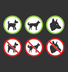 no dogs icons dog prohibited and allowed signs vector image