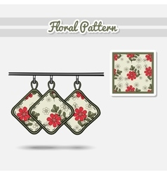 Potholders Red Flowers vector image vector image