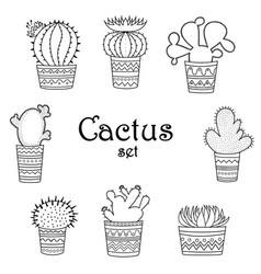 a set of black-and-white cactuses in pots vector image