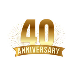 anniversary golden forty years number vector image
