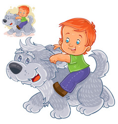 little boy sitting on a big dog and holding vector image