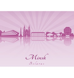 Minsk skyline in purple radiant orchid vector image