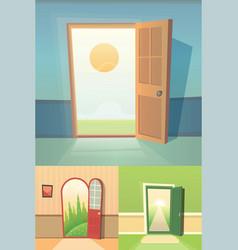 open door cartoon collection set of four vector image