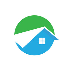 Circle home roof building logo image vector