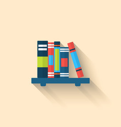 Colorful Different Books on the Shelf with Long vector image
