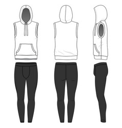 sleeveless hoody and jogging pants vector image vector image